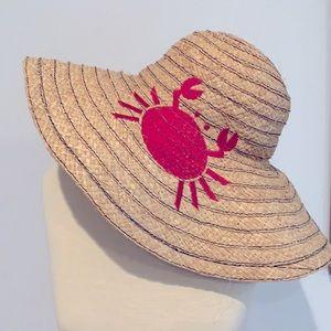 Jonathan Adler Embroidered Crab Floppy Straw Hat
